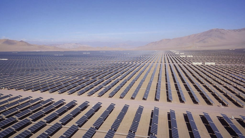 Vast solar power array in desert