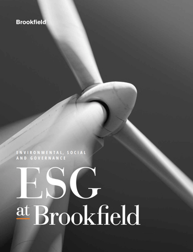 Front page of Brookfield ESG brochure