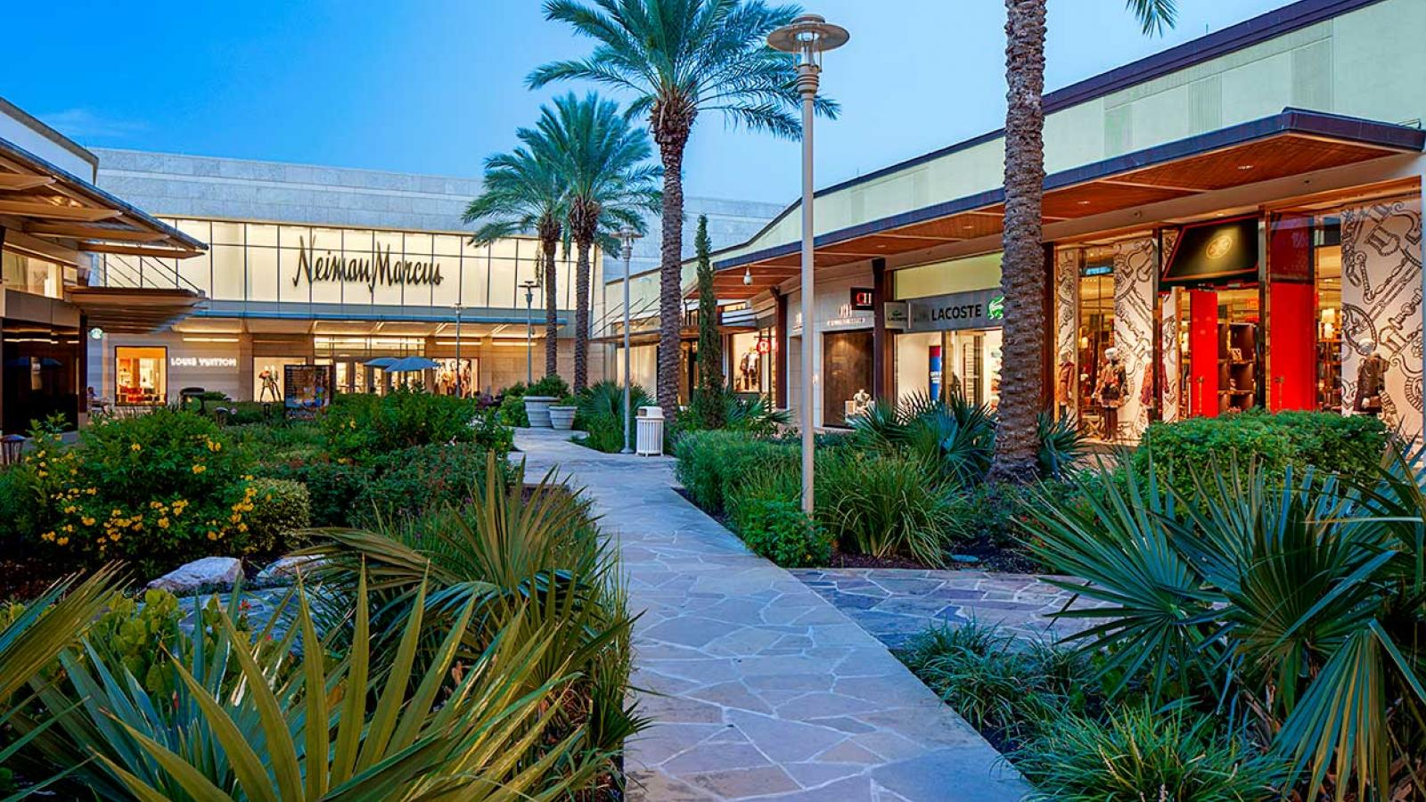 Palm trees and retail shops at GGP mall USA