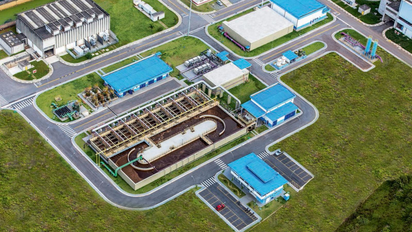 Overhead view of water treatment plant
