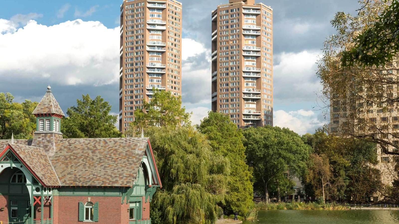 Two high-rise octagonal apartment buildings