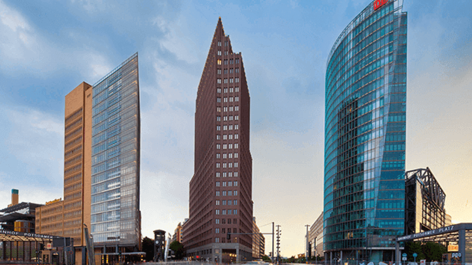 Three dramatic razor-edge office buildings in Berlin's Potsdamer Platz