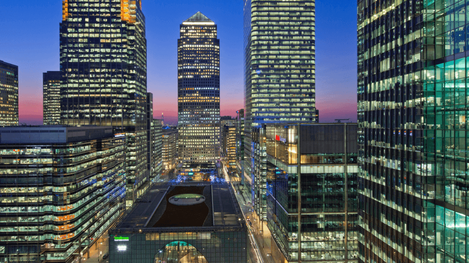 Sunset over London's Canary Wharf skyline